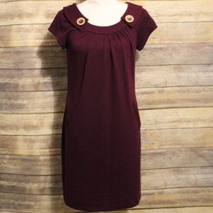 Evan Picone Retro Plum Stretchy Dress with pockets